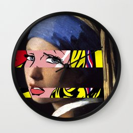 Vermeer's Girl with a Pearl Earring & Lichtenstein's Girl with a Hair Ribbon Wall Clock