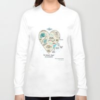 map Long Sleeve T-shirts featuring A Map of the Introvert's Heart by gemma correll