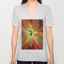 With a lot of Red, Abstract Art Unisex V-Neck