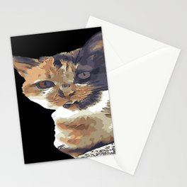 Cute Tricolor Cat With Tongue Out Stationery Cards