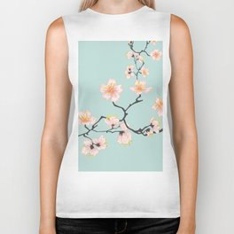 Sakura Cherry Blossoms x Mint Green Biker Tank