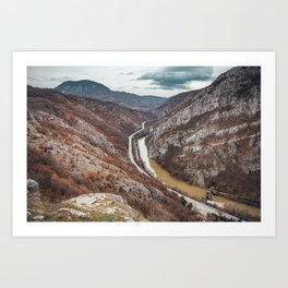 Beautiful picture of the canyon in Serbia, with river and the highway in the middle Art Print