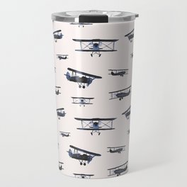Navy retro airplanes on ivory - watercolor planes Travel Mug