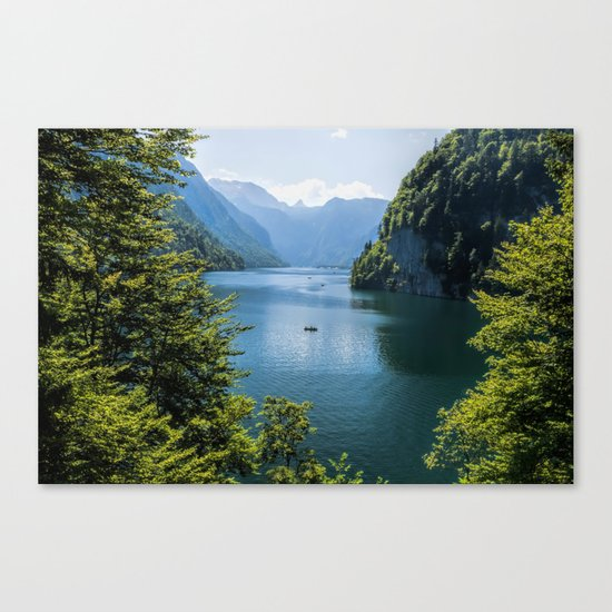 Germany, Malerblick, Koenigssee Lake III- Mountain Forest Europe Canvas Print