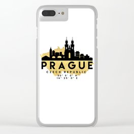 PRAGUE CZECH REPUBLIC SILHOUETTE SKYLINE MAP ART Clear iPhone Case