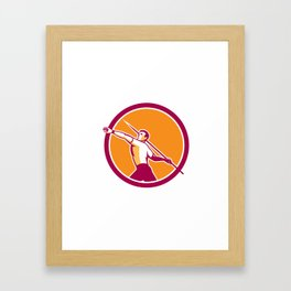 Javelin Throw Track and Field Athlete Circle Framed Art Print