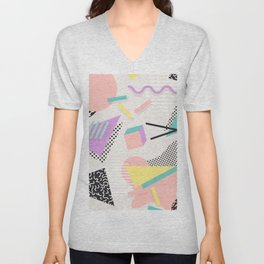 80s / 90s RETRO ABSTRACT PASTEL SHAPE PATTERN Unisex V-Neck