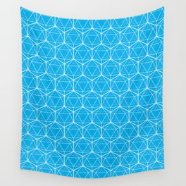 Icosahedron Pattern Bright Blue Wall Tapestry