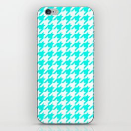 Blue, Turquoise: Houndstooth Checkered Pattern iPhone Skin