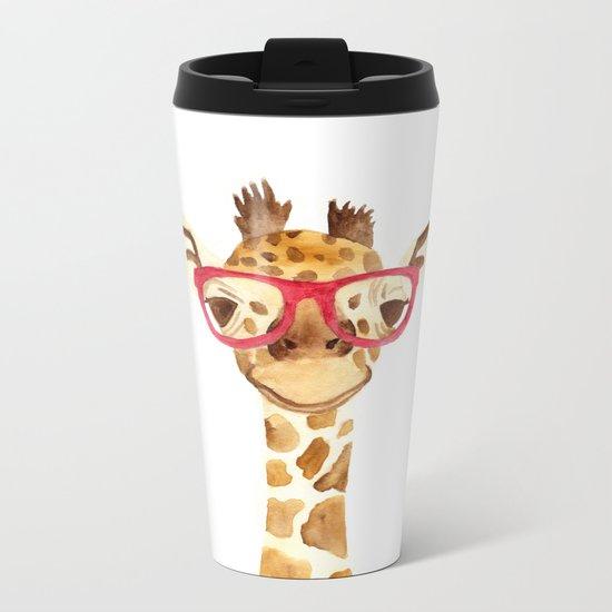 giraffe with glasses Metal Travel Mug
