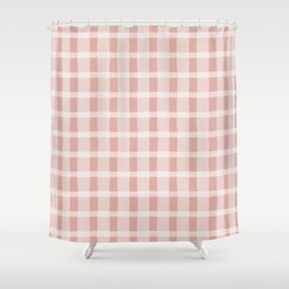 Pink and White Jagged Edge Plaid Shower Curtain