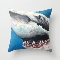 shark Throw Pillows featuring Shark by Kristin Frenzel