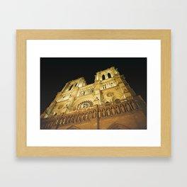Notre Dame at night. Framed Art Print