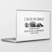 f1 Laptop & iPad Skins featuring I Have No Idols - Senna Quote by One Curious Chip