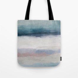 Dark Teal Blue, White, Pink, Light Blue Modern Wall Art, Ocean Waves Diptych Nursery Beach Decor Art Tote Bag