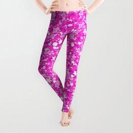 Hot Pink Glitter Texture Print Leggings