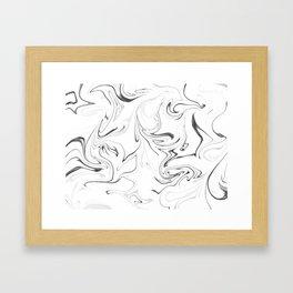 Black and White Marble Framed Art Print