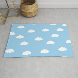 White clouds in blue background Rug