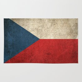 Old and Worn Distressed Vintage Flag of Czech Republic Rug