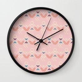 Peach Warli Print Wall Clock
