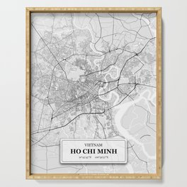 Ho Chi Minh, Vietnam City Map with GPS Coordinates Serving Tray