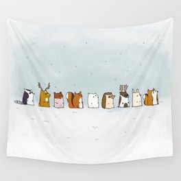 Winter forest animals Wall Tapestry