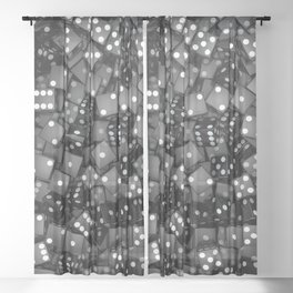 Black dice Sheer Curtain