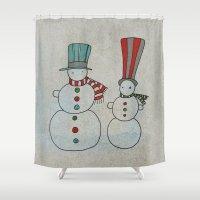 calendar Shower Curtains featuring Snowmen by Päivi Hintsanen