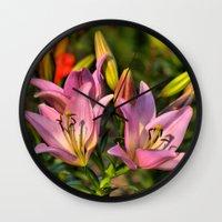 lily Wall Clocks featuring lily by Karl-Heinz Lüpke