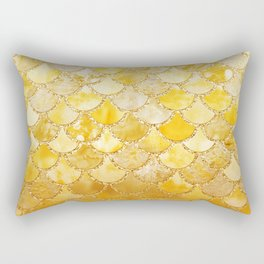 Sunny Gold Colorful Watercolor Trendy Glitter Mermaid Scales Rectangular Pillow