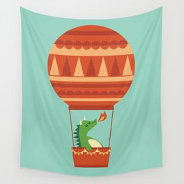 Dragon On Hot Air Balloon Wall Tapestry