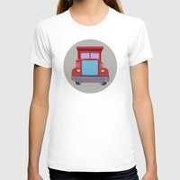 truck T-shirts featuring red truck by elvia montemayor