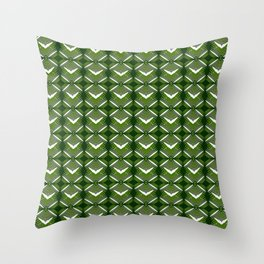 Grassy rhombuses of white stars with hearts in a bright intersection. Throw Pillow