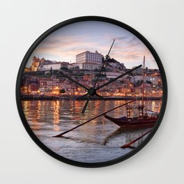 Oporto at dusk Wall Clock