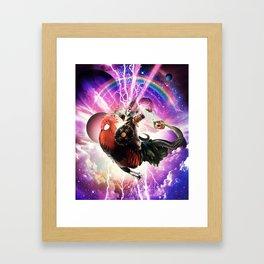 Lazer Warrior Space Cat Riding Chicken Eating Burrito Framed Art Print