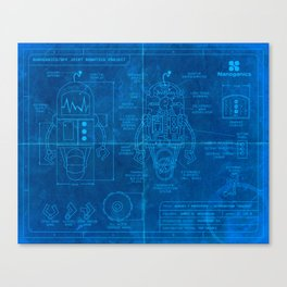 Robot Blueprint Canvas Print