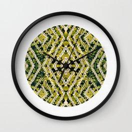 Ochre Circle African Dye Resist Fabric Adire Boho Chic Wall Clock