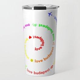 Love Budapest, icons, colors Travel Mug
