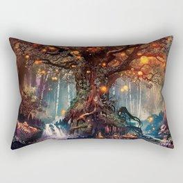 Magnificent Big Marvelous Magic Glowing Fairytale Forest Tree Light Bulbs Dreamland Ultra HD Rectangular Pillow