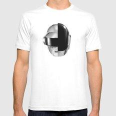 Daft Punk MEDIUM White Mens Fitted Tee