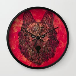 The Chosen Lone Henna Wolf Wall Clock