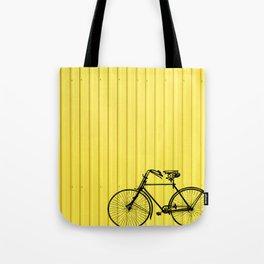 Vintage bike on yellow Tote Bag