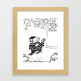 Ape Mime Fights Fire with Imaginary Hose Framed Art Print