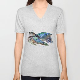 Sea Turtle, Green Blue, sea turtle under water, sky blue Unisex V-Neck
