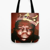 notorious big Tote Bags featuring Notorious Big by The Art Of Gem Starr