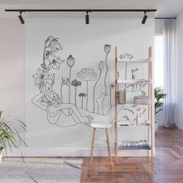 Flower Balloon Girl Minimal Line Art Wall Mural