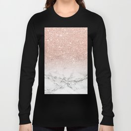 Modern faux rose gold pink glitter ombre white marble Long Sleeve T-shirt