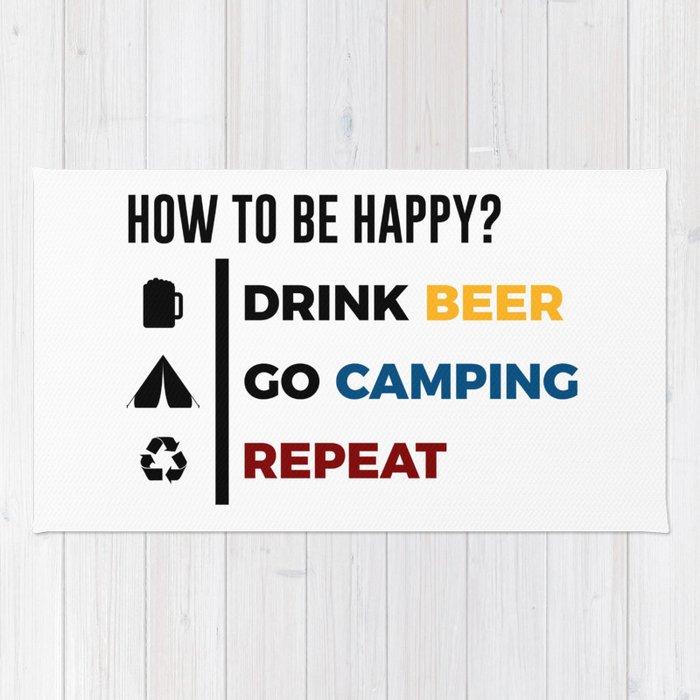 Be Happy Drink Beer Go Camping Design Rug