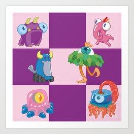 Six Silly Little Monsters Art Print