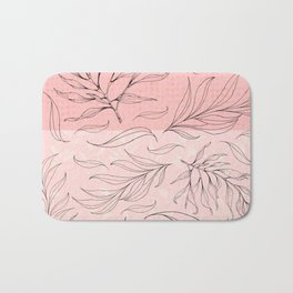 pink and black leaves Bath Mat